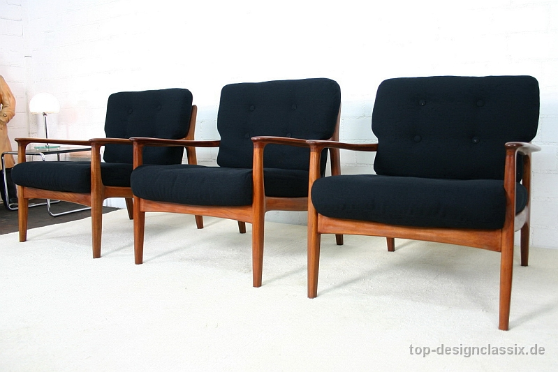 neuwertig eugen schmidt easy chair sessel danish design denmark teak neubezug ebay. Black Bedroom Furniture Sets. Home Design Ideas