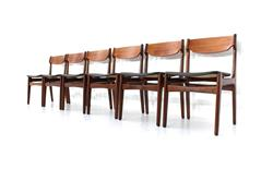 Danish Dining Chairs Erik Buck mit neuem Anilin Lederbezug