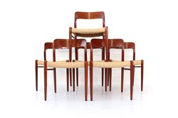 Set of 6 Niels Otto Moeller Teak Dining Chair No. 75