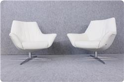 Rolf Benz 566 Lounge Chair in Leder und Chrom